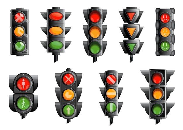 Raccolta con semafori isolati su bianco