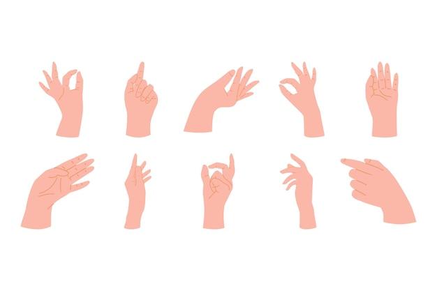 Collezione di mani naturalistiche della donna che mostrano gesti diversi.