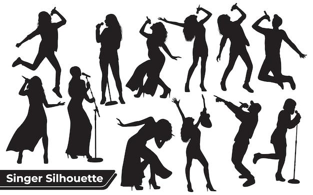 Collezione di sagome di donna cantante in diverse pose