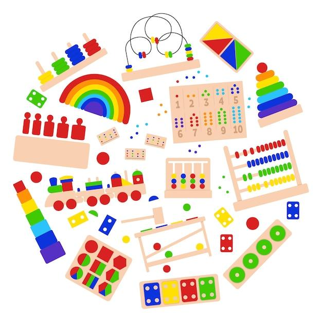 Collezione di giocattoli logici educativi in legno per giochi montessori. sistema montessori per lo sviluppo della prima infanzia. insieme di oggetti vettoriali su sfondo bianco.
