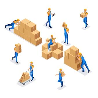 Raccolta di lavoratori in un magazzino di un uomo e una donna in uniforme con scatole di cartone, lavoro di un magazzino e servizio di consegna