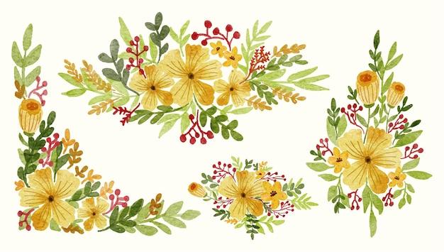 Raccolta dell'illustrazione dell'acquerello di disposizione della decorazione del fiore giallo per l'invito di nozze