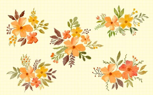 Raccolta dell'illustrazione dell'acquerello di disposizione della decorazione del fiore giallo