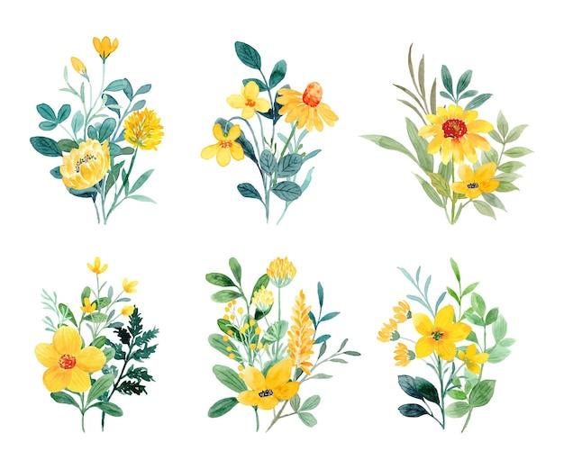 Collezione di bouquet di fiori di campo gialli con acquerello