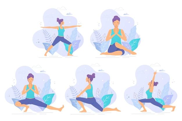 Raccolta di illustrazioni vettoriali di yoga. ragazza di yoga in un'illustrazione di vettore del parco. uno stile di vita sano.