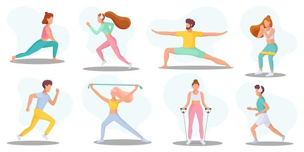 Raccolta di giovani che svolgono attività sportive. uno stile di vita sano. illustrazione.