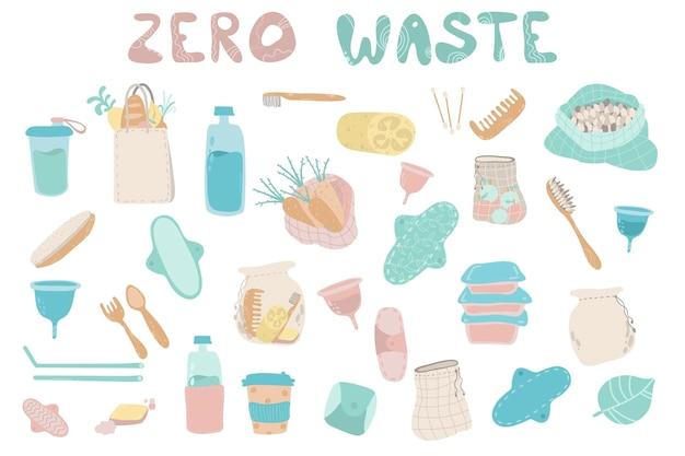 Raccolta di articoli o prodotti durevoli e riutilizzabili zero waste