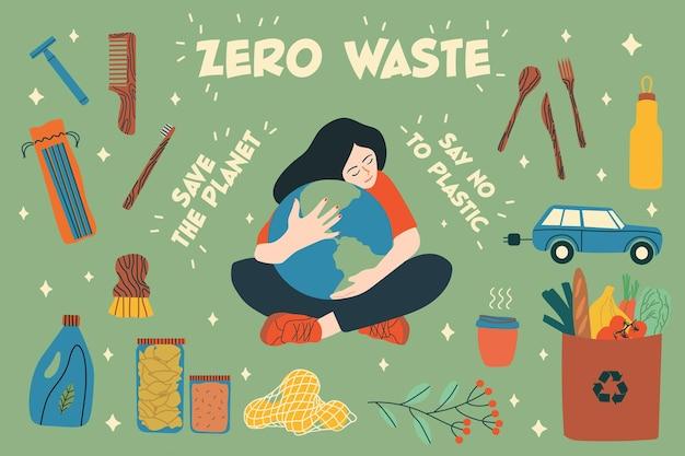 Raccolta di elementi zero rifiuti in stile piatto cartone animato