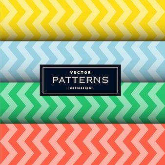 Raccolta di linee a zig-zag modello impostato in quattro colori