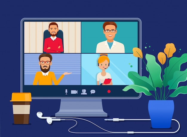 Riunione virtuale collettiva sullo schermo di un computer