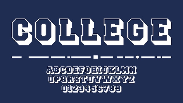 Modello di alfabeto del college.