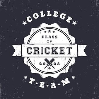 Logo del grunge dell'annata della squadra di cricket del college, distintivo con mazze da cricket incrociate