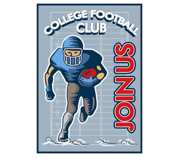 Poster di college football reclutamento vintage