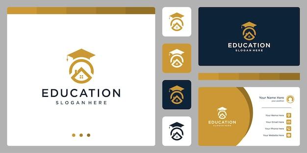 College, laureato, campus, design del logo dell'istruzione. e loghi delle case. biglietto da visita