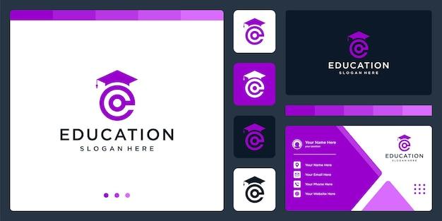 College, laureato, campus, design del logo dell'istruzione. e lettera iniziale del logo e. biglietto da visita