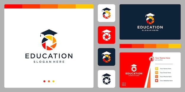 College, laureato, campus, design del logo dell'istruzione. e logo della fotografia. biglietto da visita