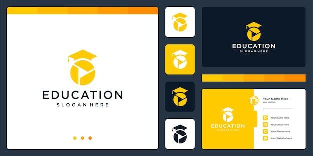 College, laureato, campus, design del logo dell'istruzione. e il logo del pulsante di riproduzione, video. biglietto da visita