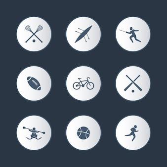 Sport universitari, set di icone rotonde