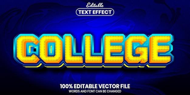Testo universitario, effetto testo modificabile in stile carattere