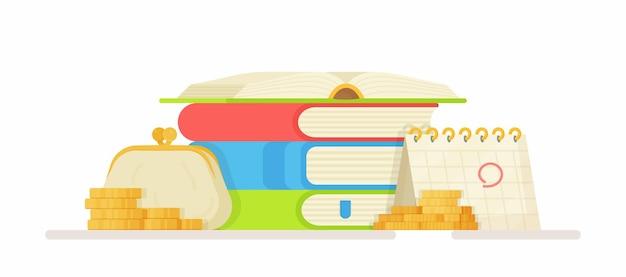 Illustrazione delle tasse universitarie del cambio di denaro preparazione per gli esami sito per il pagamento per l'università