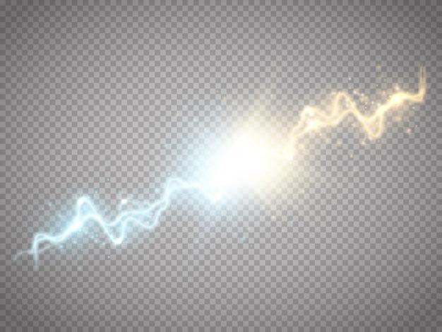 Illustrazione di una collisione di due forze fulmine di energia con scarica elettrica