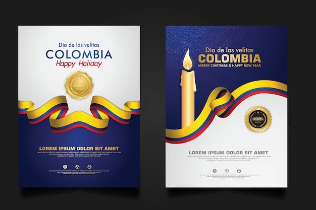 Modello di celebrazione del giorno della colombia di piccole candele