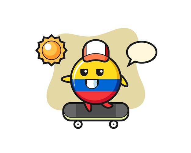 L'illustrazione del personaggio del distintivo della bandiera della colombia guida uno skateboard, design in stile carino per maglietta, adesivo, elemento logo