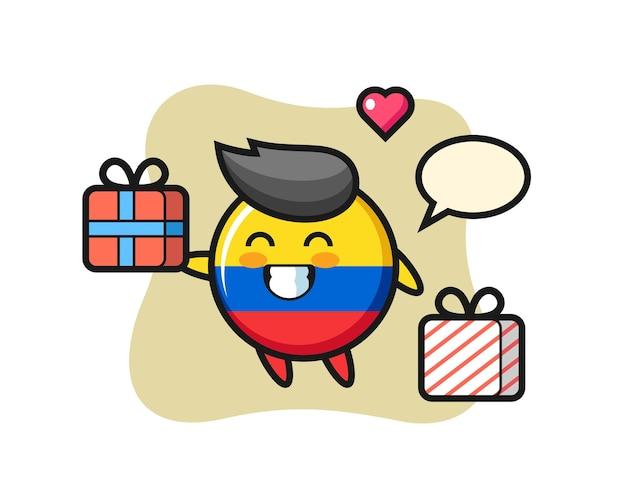 Fumetto della mascotte del distintivo della bandiera della colombia che fa il regalo, design in stile carino per maglietta, adesivo, elemento logo