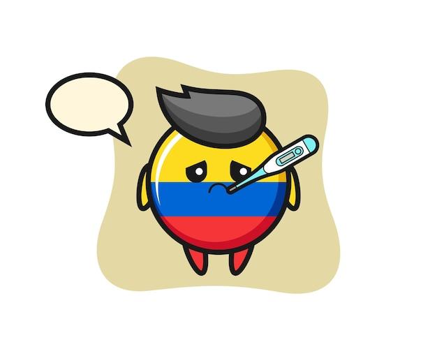 Carattere della mascotte del distintivo della bandiera della colombia con condizione di febbre, design in stile carino per maglietta, adesivo, elemento logo