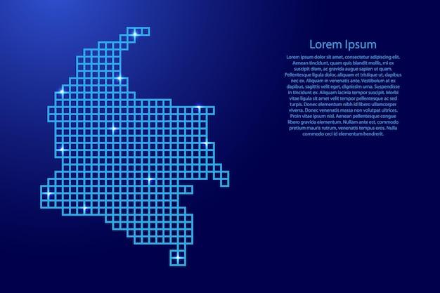 Siluetta della mappa della colombia dai quadrati blu della struttura del mosaico e dalle stelle d'ardore. illustrazione vettoriale.