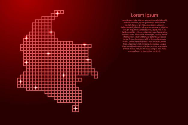 Siluetta della mappa della colombia dai quadrati rossi della struttura del mosaico e dalle stelle d'ardore. illustrazione vettoriale.