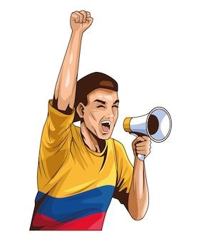 Uomo colombiano con megafono