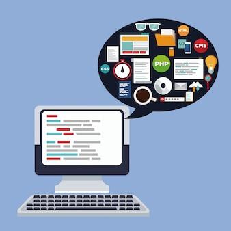 Dispositivo per computer da scrivania con sfondo colorato con finestra di dialogo e elementi del linguaggio di programmazione all'interno