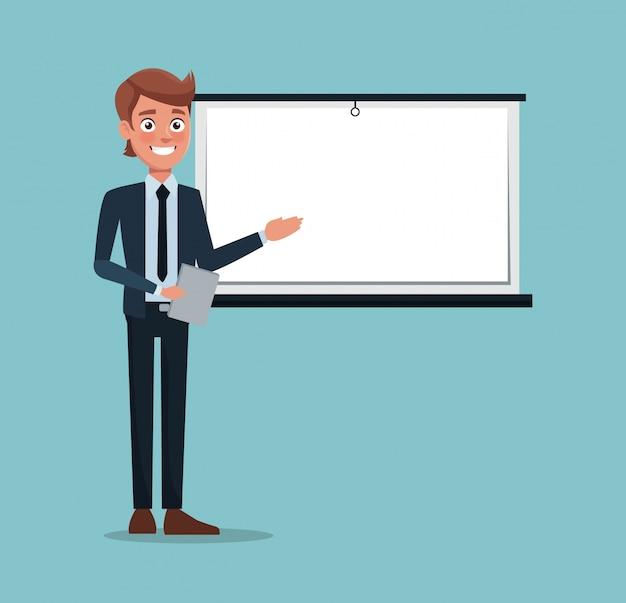 Colore sfondo uomo esecutivo nella presentazione di lavoro