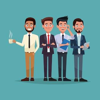 Colore completo set completo di personaggi maschili per gli affari