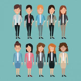 Insieme completo del corpo del fondo di colore di caratteri multipli delle donne per l'affare