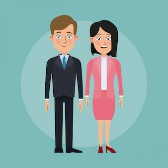 Colore di sfondo completo corpo insieme coppia quadri di donna e uomo