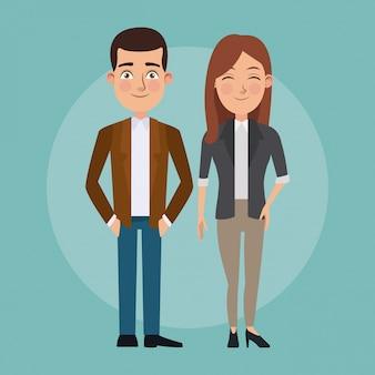 Le coppie fissate del corpo completo del fondo di colore dell'occhio di occhiolino della donna ed uomo con i caratteri convenzionali del vestito per l'affare