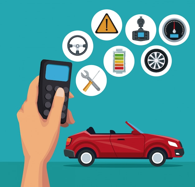Sfondo a colori dell'automobile sportiva convertibile e telecomando con elementi di ricerca satellitare veicolo a pulsante