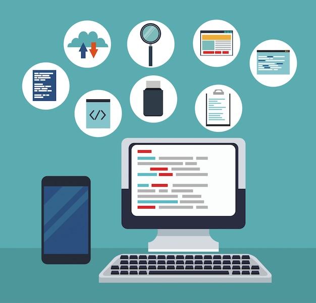 Colore computer tech sfondo con codici di programmazione icone e dispositivo smartphone