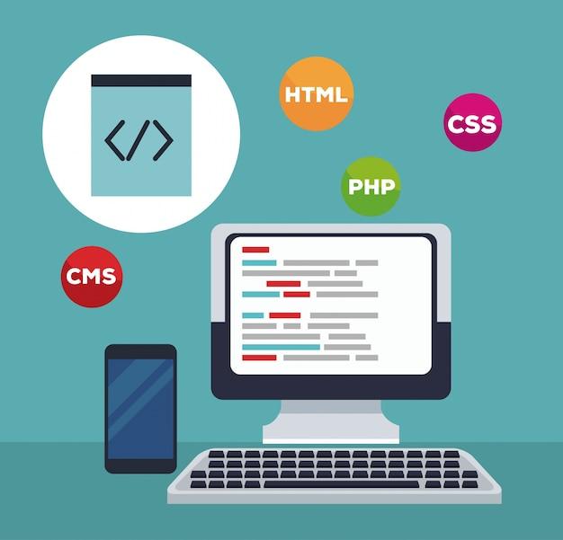 Colore tech computer di sfondo con icone di programmazione lingua e telefono cellulare