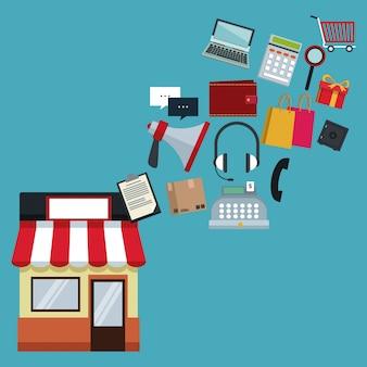 Colore di sfondo con negozio con tenda e icone shopping online galleggiante