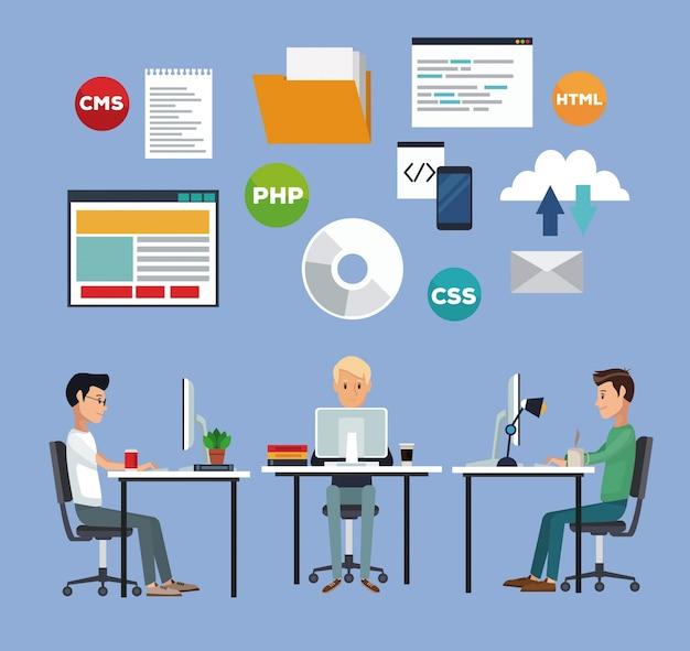 Colore di sfondo con gli uomini del gruppo di sviluppatori web nel linguaggio di programmazione da scrivania