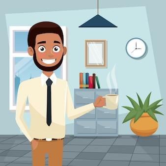 Colore corpo ufficio di lavoro a metà corpo uomo barbuto e bruna execuitive con una tazza di caffè
