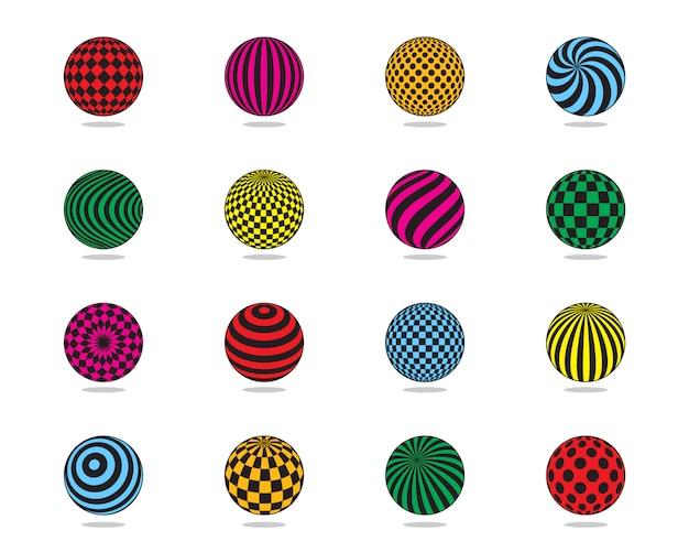 Set di palline colorate. palla a strisce, check, motivo a pois.