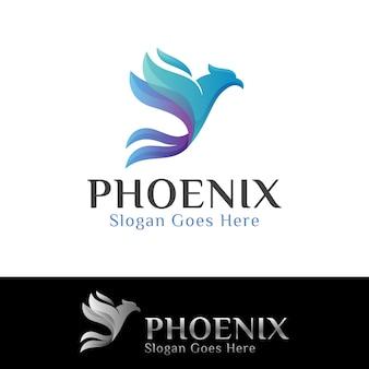 Colore blu fenice uccello o aquila logo design