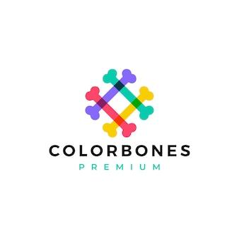 Modello di logo di cibo per cani con ossa di colore