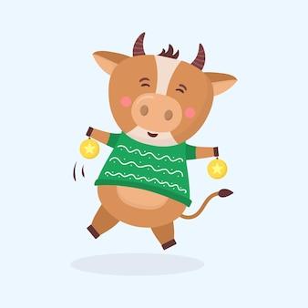 Animali di simbolo del capodanno cinese dei tori di colore con il personaggio dei cartoni animati di feste animali della mucca delle corna