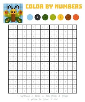 Colore per numero, gioco educativo per bambini, farfalla