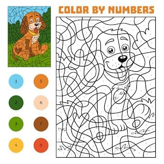 Colore per numero, gioco educativo per bambini, cane